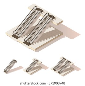 Vector isometric low poly escalator cutaway