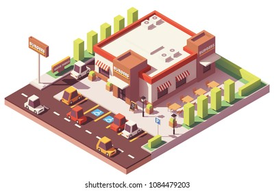 Vector isometric low poly fast food restaurant building
