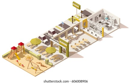 Vector isometric low poly fast food restaurant infrastructure