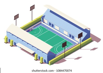 Vector isometric low poly field hockey stadium building