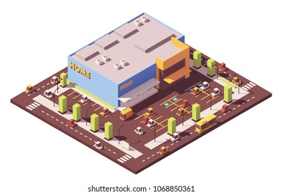 Vector isometric low poly furniture, kitchen appliances and home accessories supermarket building