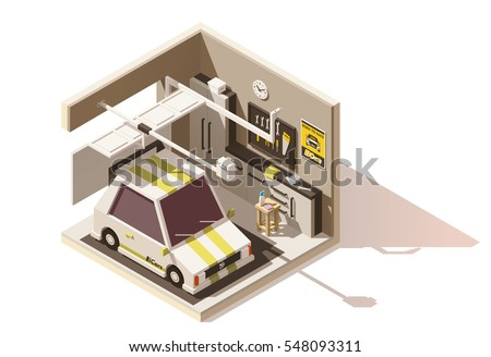 Vector Isometric Low Poly Garage Cutaway Stock Vector Royalty Free
