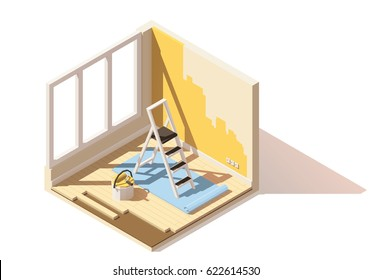 Vector isometric low poly home room renovation icon