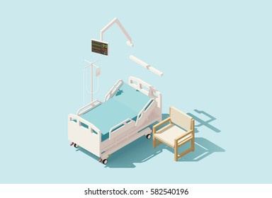 Vector isometric low poly hospital bed with IV stand and chair