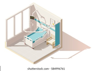 Vector isometric low poly hospital ward. Includes hospital bed, heart rate monitor and other equipment