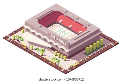 Vector isometric low poly ice hockey rink stadium with street elements