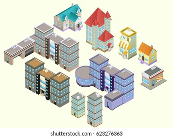 Vector Isometric low poly illustration set with buildings and stores