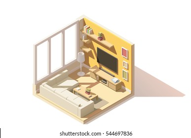 Vector isometric low poly living room cutaway icon. Room includes sofa, coffee table, tv and other furniture