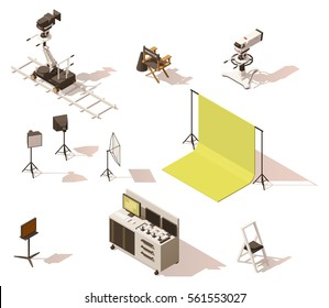 Vector isometric low poly movie and tv video equipment set. Includes video cameras, camera dolly, lighting and other movie shooting process equipment