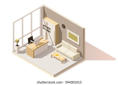 Vector isometric low poly office room. Includes table, office chair, sofa and other furniture