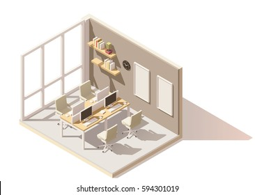 Vector isometric low poly office room. Includes table, office chairs, other furniture