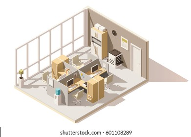 Vector isometric low poly office room with cubicle workplace
