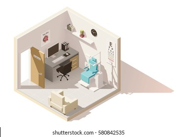 Vector isometric low poly ophthalmologist office icon. Includes phoropter, eye chart and other furniture