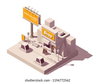 Vector isometric low poly outdoor advertising media types and placement locations illustration representing billboard advertisement, shop with neon signage, wooden signboard, and digital citylight