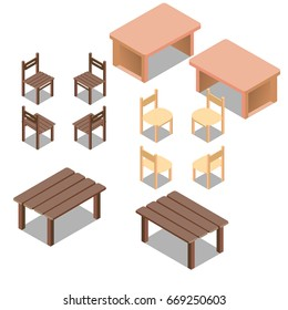 Vector isometric low poly outdoor and ofice tables and chairs, furniture set.