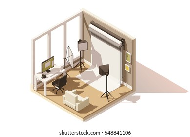 Vector isometric low poly Photo studio room cutaway icon. Room includes camera, reflectors, lights, backdrop and other photography equipment