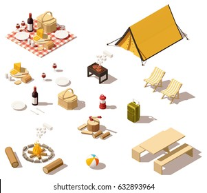 Vector isometric low poly picnic and camping equipment set