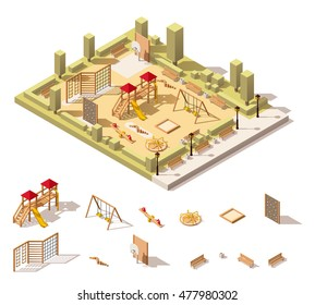 Vector isometric low poly playground and playground equipment