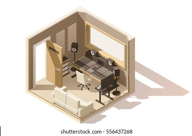 Vector isometric low poly recording studio icon. Includes studio mixing console, speakers and other music equipment