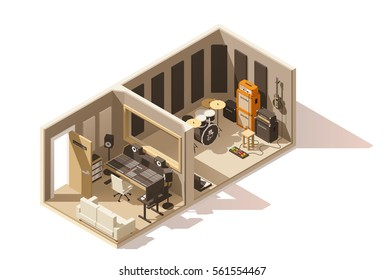 Vector isometric low poly recording studio icon. Includes recording and mixing spaces, guitars, drums, mixer and other equipment