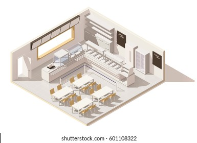 Vector isometric low poly self service restaurant