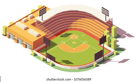 Vector isometric low poly soccer or baseball park or stadium
