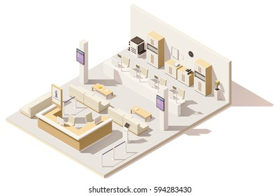 Vector isometric low poly store or bank queue management system. Includes queuing system ticket terminals, seats for customers, queue displays, barriers and offices