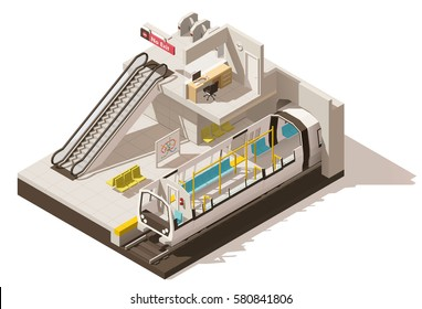 Vector isometric low poly subway train station. Includes escalator, entrance gates and train cross-section