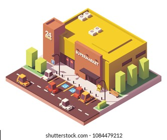 Vector isometric low poly supermarket or grocery store building