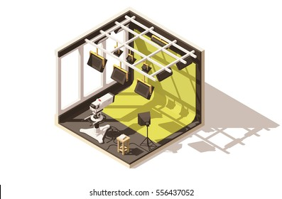 Vector isometric low poly television studio icon. Includes tv camera, lighting, green chroma key backdrop