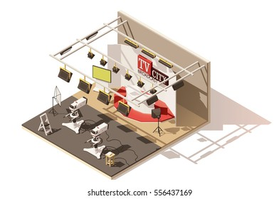 Vector isometric low poly television studio icon. Includes studio stage, tv cameras, lighting