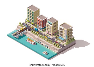 Vector Isometric low poly town street with buildings, stores and cafe on the river bank. Tourist cruising ship passed under the bridge and arriving to the pier icon