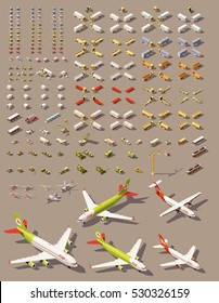 Vector isometric low poly transports set. Cars, trucks, tractors, airplanes, helicopters and other isometric vehicles