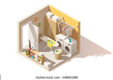 Vector isometric low poly utility and laundry room cutaway icon. Room includes wardrobe, washing machine, ironing board, clothes hanger, vacuum cleaner, laundry basket and other furniture