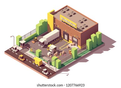 Vector isometric low poly warehouse building. Includes trucks with goods in crates, loading docks, forklift, CCTV security cameras, fence and warehouse guard booth