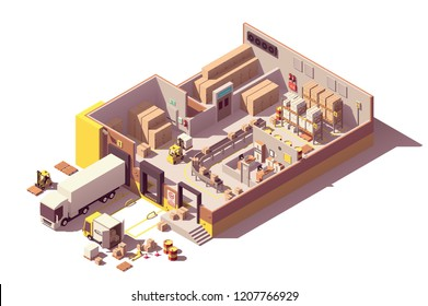 Vector isometric low poly warehouse cross-section with trucks, crates and pallets, loading docks, building interior, warehouse conveyor, pallet racking system, forklift, office, cold storage, cctv