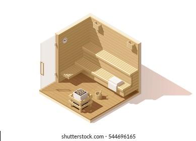 Vector isometric low poly wooden sauna room cutaway icon. Room includes sauna accessories