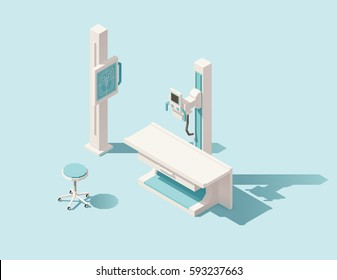Vector isometric low poly x-ray machine and radiology room equipment