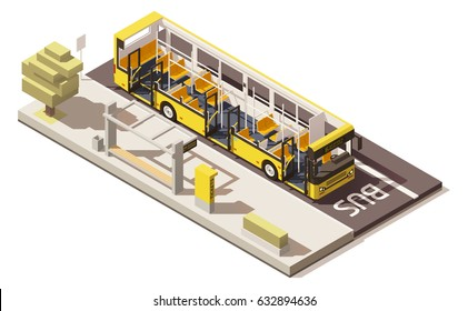 Vector isometric low poly yellow bus near the bus stop