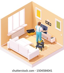 Vector isometric man or technician worker at TV installation with the wall mount over the tv stand in the home room. Worker holding TV, hand drill, toolbox