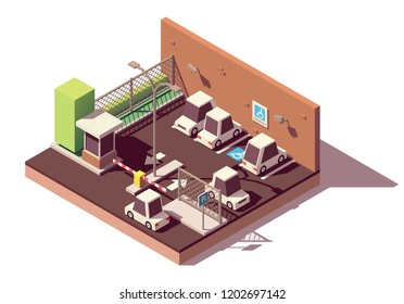 Vector isometric manned and guarded secure car parking with CCTV surveillance, guard booth, barrier and marked car parking spaces