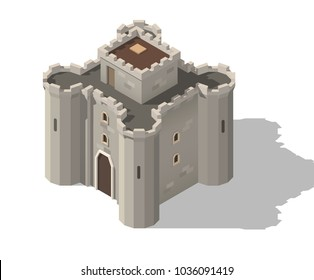 Vector  isometric medieval cartoon low poly castle.