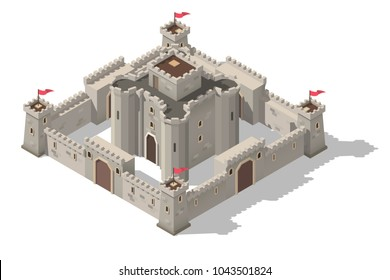 Vector isometric medieval castle with walls, gates and towers. Concept of game fortress.