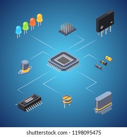 Vector isometric microchips and electronic parts icons infographic concept illustration. Chip and microchip, microprocessor and semiconductor