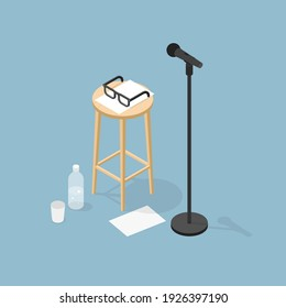 Vector isometric microphone performance illustration. Dynamic microphone on stand, chair with glasses, papers, bottle of water and cup. Stage performance concept.