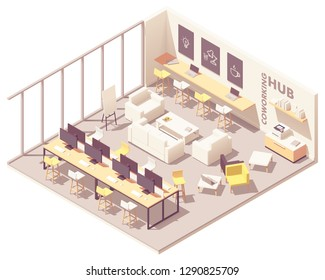 Vector isometric modern coworking open space interior plan with workplaces, desks, computers, printer, workbench, sofa and other furniture
