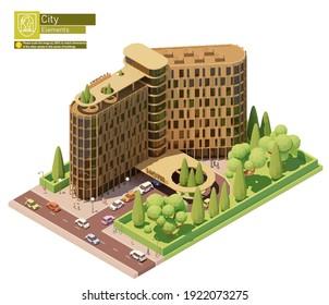 Vektor isometrische moderne Hotelgebäude. Hotelgebäude außen mit Autos und Personen