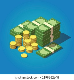 Vector isometric money concept. Big money icon. Hundreds of dollars illustration.