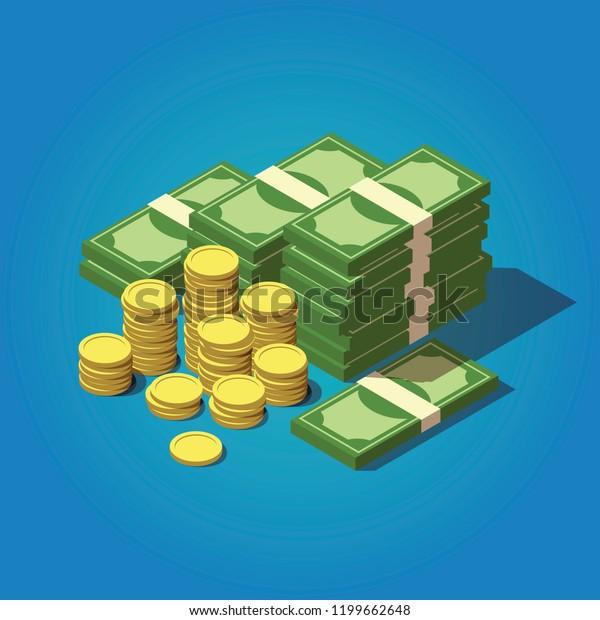Vektorisometrisches Geldkonzept. Großes Geld Symbol. Illustration in Hunderten von Dollar.