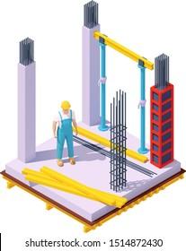 Vector isometric monolithic concrete building construction site. Concrete formwork, columns, builder in hardhat, wooden floor beams, steel bars for reinforcement